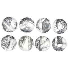 "Piero Fornasetti Porcelain Coasters ""Adam"" Set of 8 Barware"