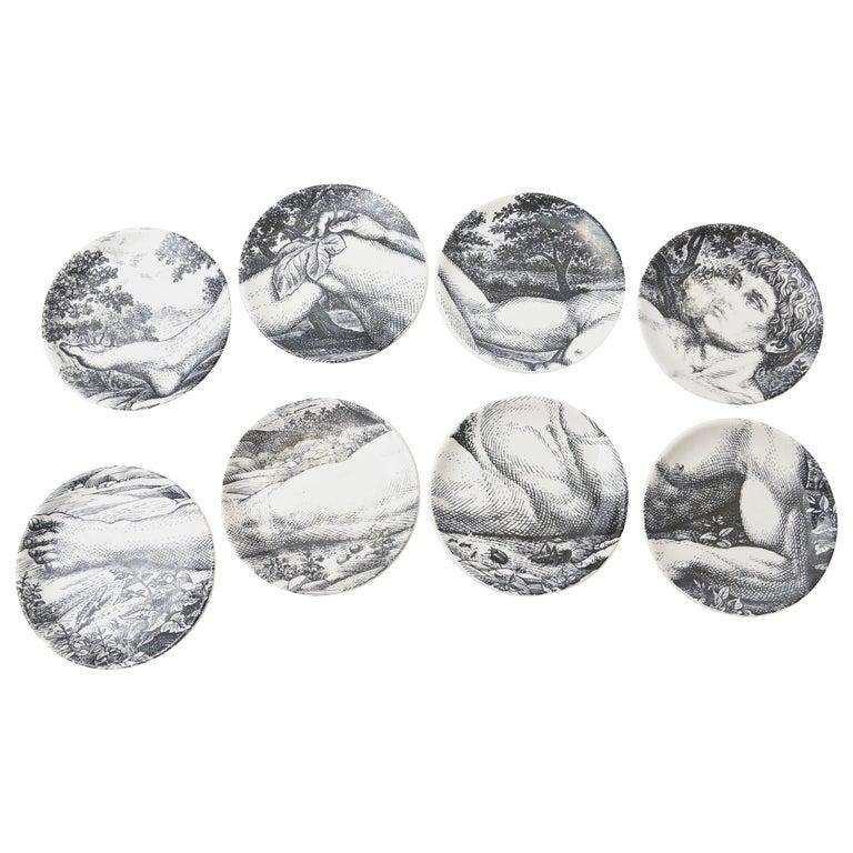 "Piero Fornasetti Porcelain Coasters ""Adam"" Set of 8 Barware Mid-Century Modern For Sale"