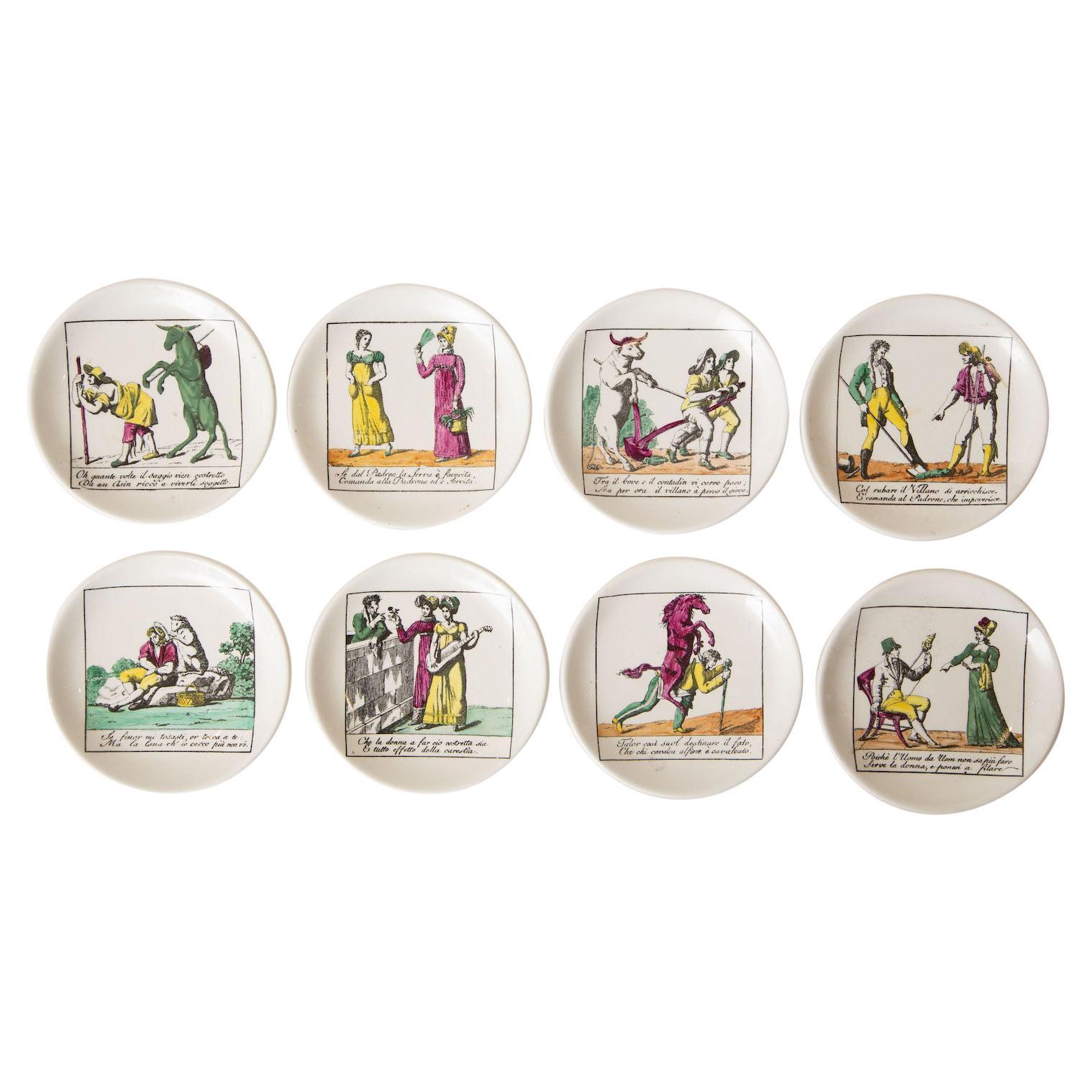 Piero Fornasetti Porcelain Coasters Il Mondo Alla Rovescia Mid Century Set/ 8
