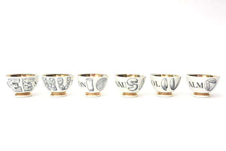 Piero Fornasetti Porcelain & Gilded Appetizer Bowls Midcentury Set of 6 Barware For Sale 4