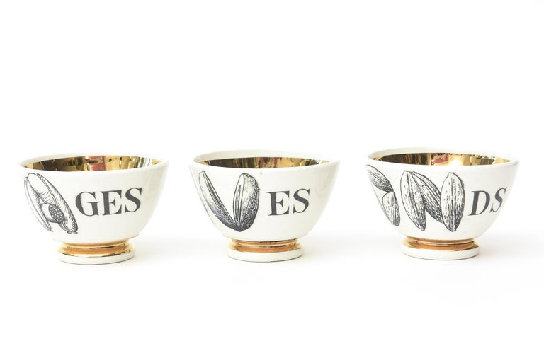 Mid-20th Century Piero Fornasetti Porcelain & Gilded Appetizer Bowls Midcentury Set of 6 Barware For Sale
