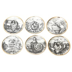 "Piero Fornasetti Porcelain Gilded Coasters Titled ""Le Oceandi"" Set of 6 Barware"