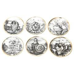 "Piero Fornasetti Porcelain Gilded Coasters Titled ""Le Oceandi"", Set of 6 Barware"