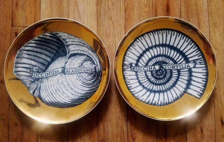 Mid-Century Modern Piero Fornasetti Porcelain Gilt Pair of Seashell Plates, Conchyliorum Pattern For Sale