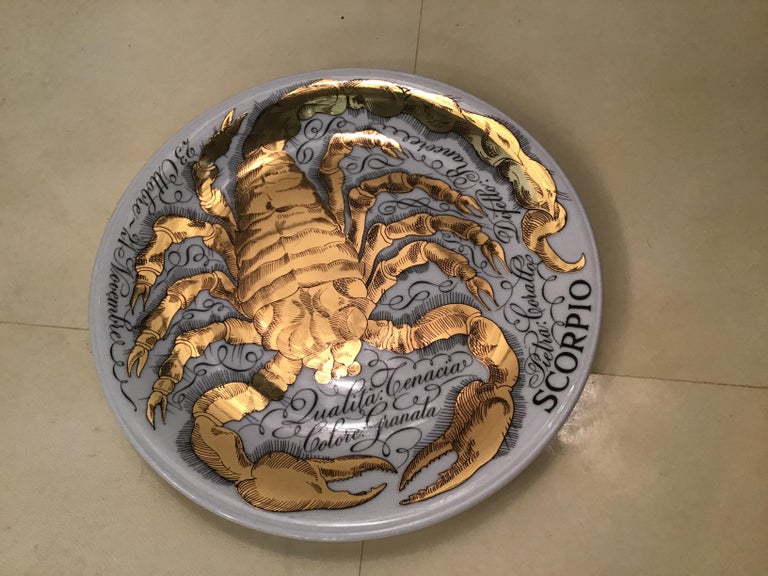 Piero Fornasetti Porcelain Gold Wall Plate Zodiac Sign Scorpion, 1967 For Sale 4
