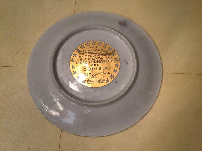 Piero Fornasetti Porcelain Gold Wall Plate Zodiac Sign Scorpion, 1967 For Sale 7