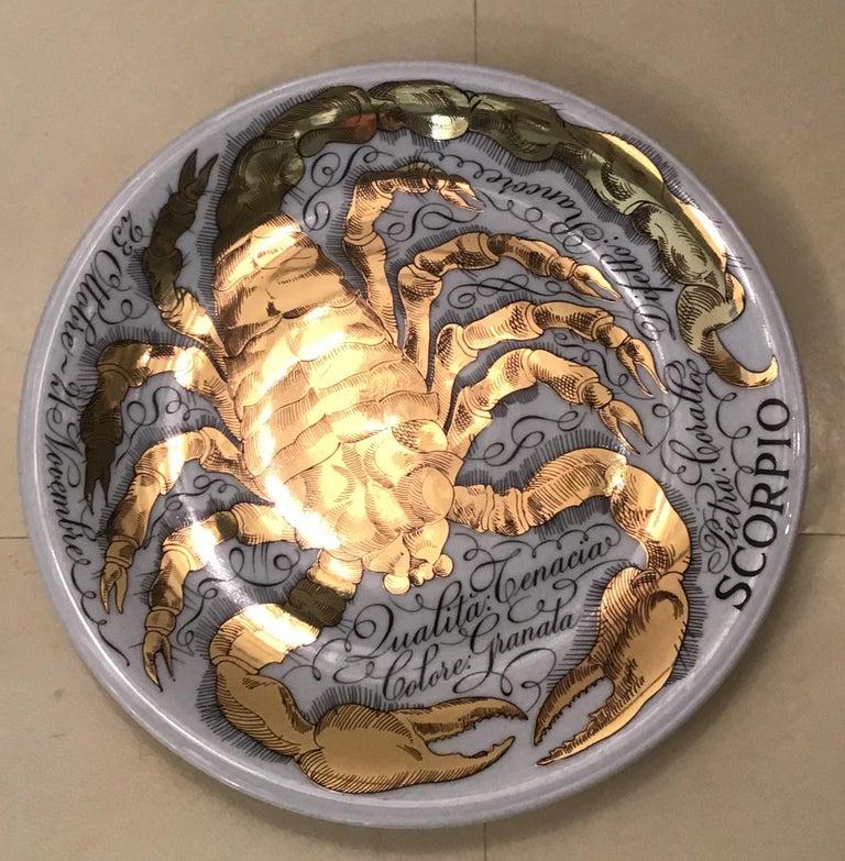 Italian Piero Fornasetti Porcelain Gold Wall Plate Zodiac Sign Scorpion, 1967 For Sale