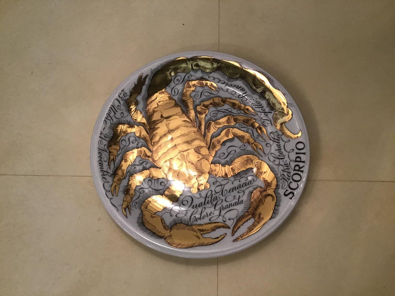 Mid-20th Century Piero Fornasetti Porcelain Gold Wall Plate Zodiac Sign Scorpion, 1967 For Sale