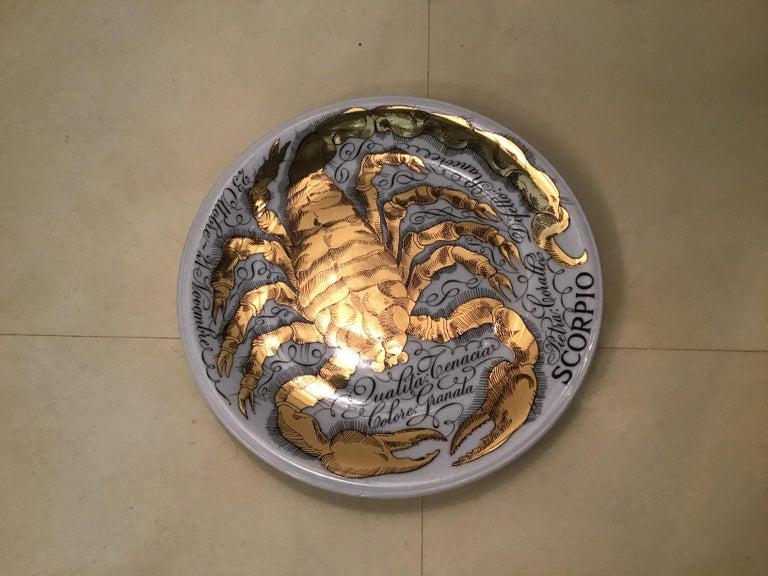 Piero Fornasetti Porcelain Gold Wall Plate Zodiac Sign Scorpion, 1967 For Sale 1
