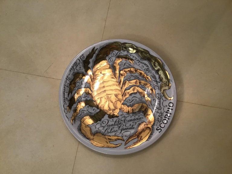 Piero Fornasetti Porcelain Gold Wall Plate Zodiac Sign Scorpion, 1967 For Sale 2