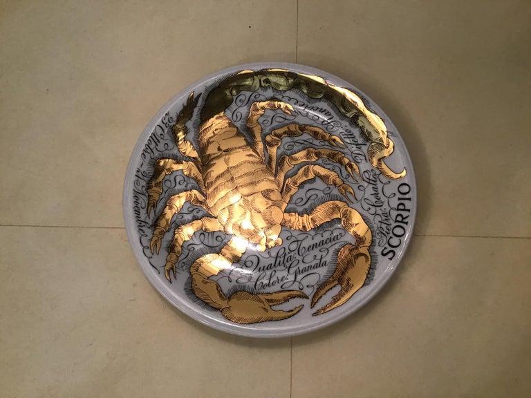 Piero Fornasetti Porcelain Gold Wall Plate Zodiac Sign Scorpion, 1967 For Sale 3