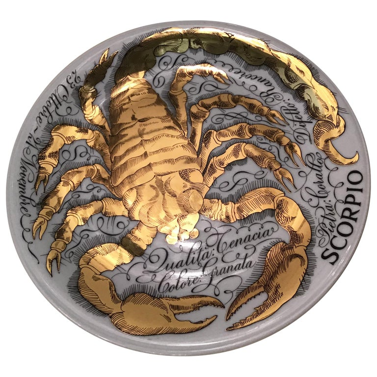 Piero Fornasetti Porcelain Gold Wall Plate Zodiac Sign Scorpion, 1967 For Sale