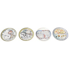 Piero Fornasetti Porcelain Map Coasters from the Antichi Planisfori Barware