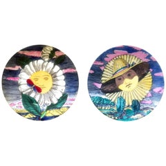 Piero Fornasetti Porcelain Mesi and Soli Pair of Plates 12 Suns 12 Months, 1955.