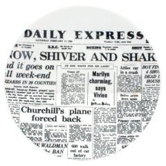 Piero Fornasetti Porcelain Newspaper Plate, Daily Express