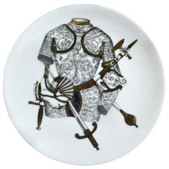 Piero Fornasetti Porcelain Plate with Coats of Armour, the Armature Pattern