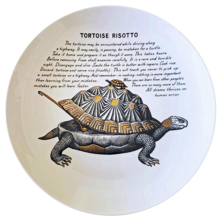 Piero Fornasetti Porcelain Recipe Plate, Tortoise Risotto, Fleming Joffe For Sale