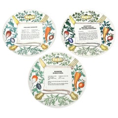 "Piero Fornasetti Porcelain ""Recipe"" Plates Mid-Century Modern Set of Three"