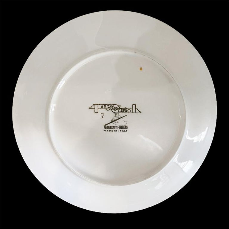 Piero Fornasetti Porcelain Set of 8 Gilted Astrolabe Plates For Sale 5