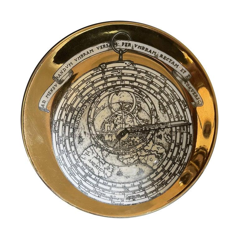 Italian Piero Fornasetti Porcelain Set of 8 Gilted Astrolabe Plates For Sale
