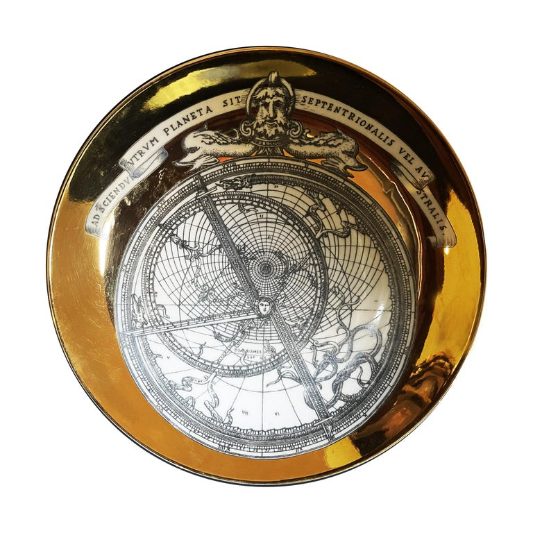 Piero Fornasetti Porcelain Set of 8 Gilted Astrolabe Plates For Sale 2