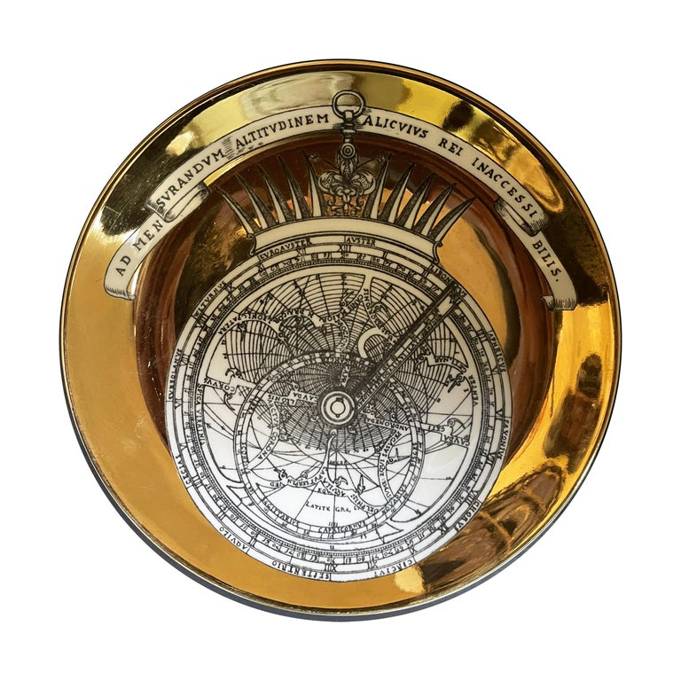 Piero Fornasetti Porcelain Set of 8 Gilted Astrolabe Plates For Sale 3