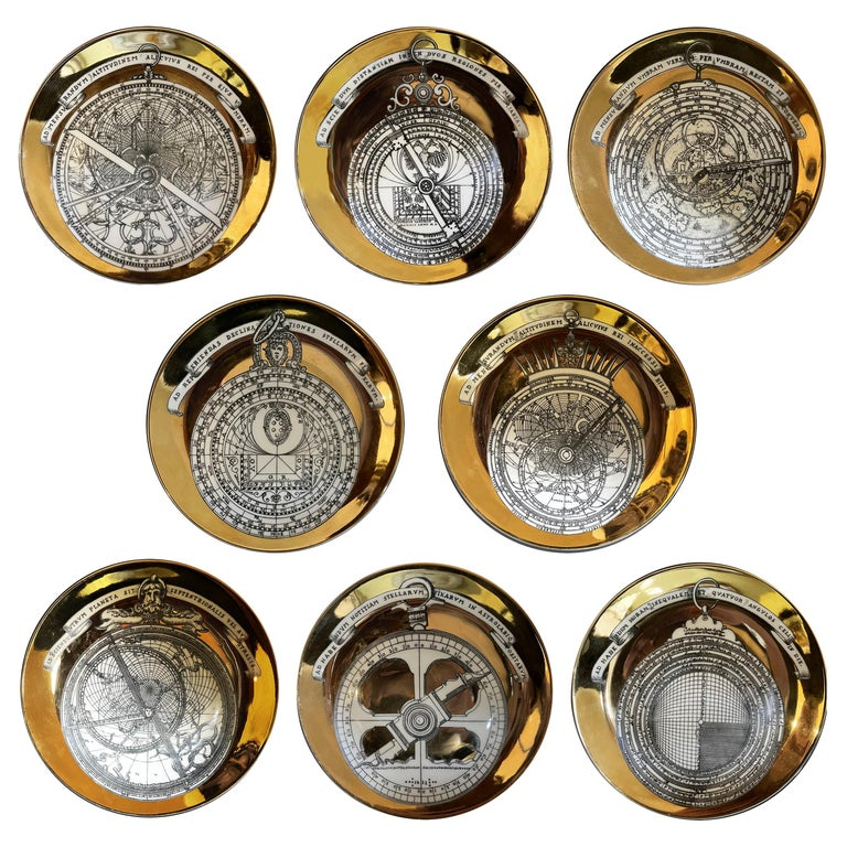 Piero Fornasetti Porcelain Set of 8 Gilted Astrolabe Plates For Sale