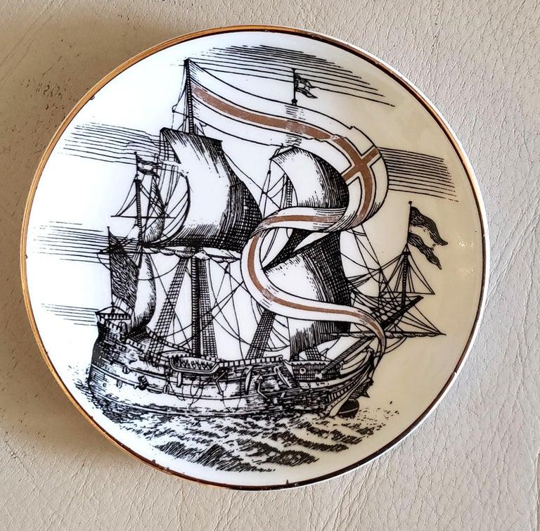 Mid-Century Modern Piero Fornasetti Porcelain Set of Eight Ship Coasters, Velieri with Original Box For Sale