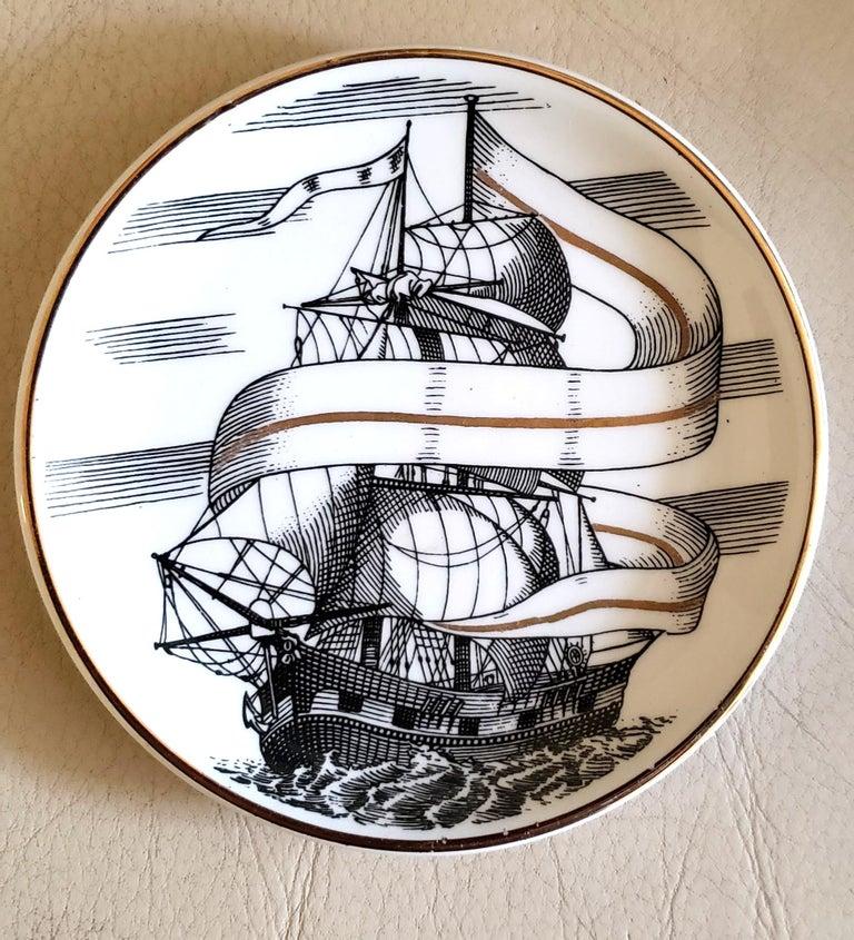 Italian Piero Fornasetti Porcelain Set of Eight Ship Coasters, Velieri with Original Box For Sale