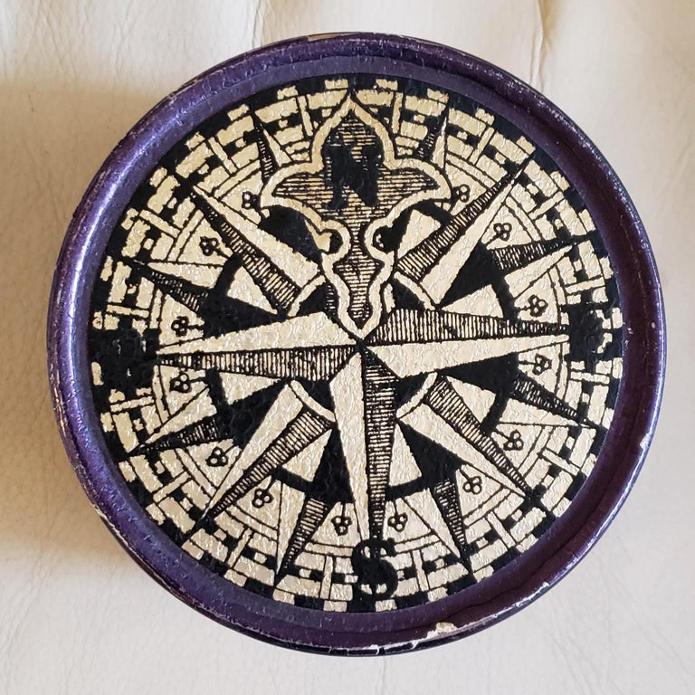 Piero Fornasetti Porcelain Set of Eight Ship Coasters, Velieri with Original Box In Good Condition For Sale In Downingtown, PA