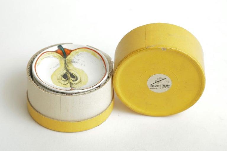 Piero Fornasetti Porcelain Sezoni Di Frutta Midcentury Small Plates or Coasters For Sale 5