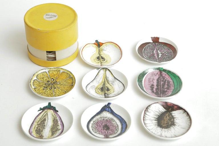 Mid-Century Modern Piero Fornasetti Porcelain Sezoni Di Frutta Midcentury Small Plates or Coasters For Sale