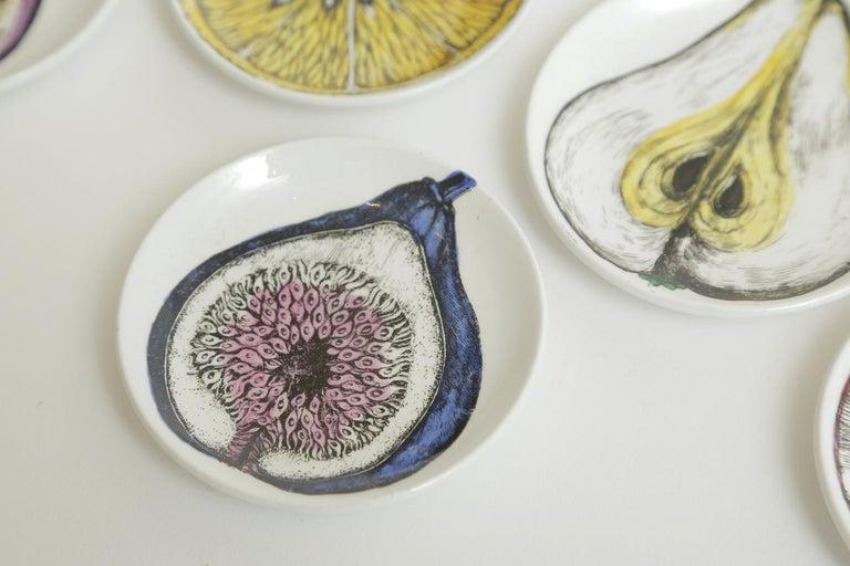 Italian Piero Fornasetti Porcelain Sezoni Di Frutta Midcentury Small Plates or Coasters For Sale