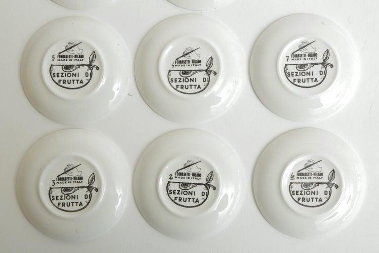 Piero Fornasetti Porcelain Sezoni Di Frutta Midcentury Small Plates or Coasters For Sale 3
