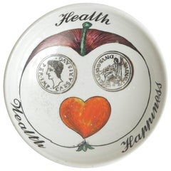 Piero Fornasetti Porcelain Vida Poche Wealth Health and Happiness Bowl Barware