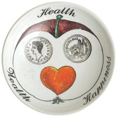 Piero Fornasetti Porcelain Vida Poche Wealth Health and Happiness Bowl Barware