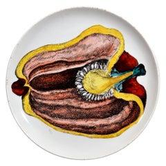 Piero Fornasetti Pottery Plate, Sezioni Di Frutta, #6, 1960s
