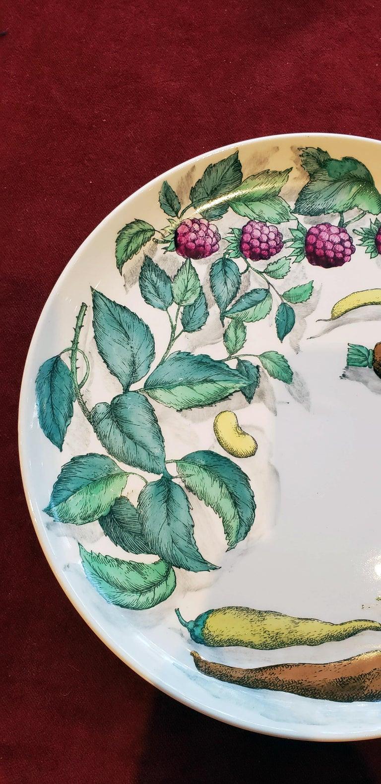 Italian Piero Fornasetti Pottery Vegetalia Plate, #10 Morino, 1955 For Sale