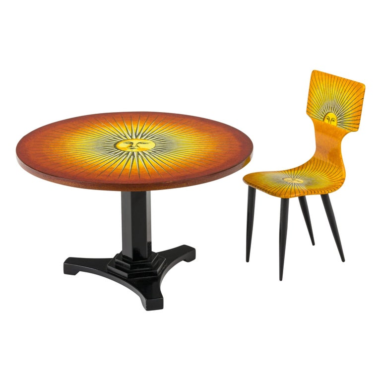 """Piero Fornasetti Prototype Miniature """"Sole"""" Chair & Table, Italy, 2006 For Sale"""