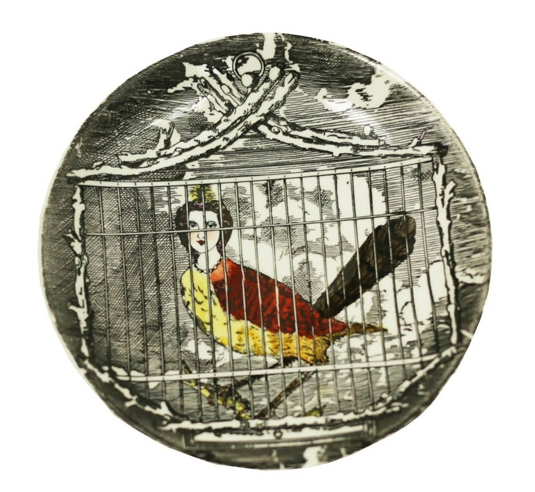 Italian Piero Fornasetti Rare Multi Colored L'Arpie Gentili Coasters, Set of Five For Sale