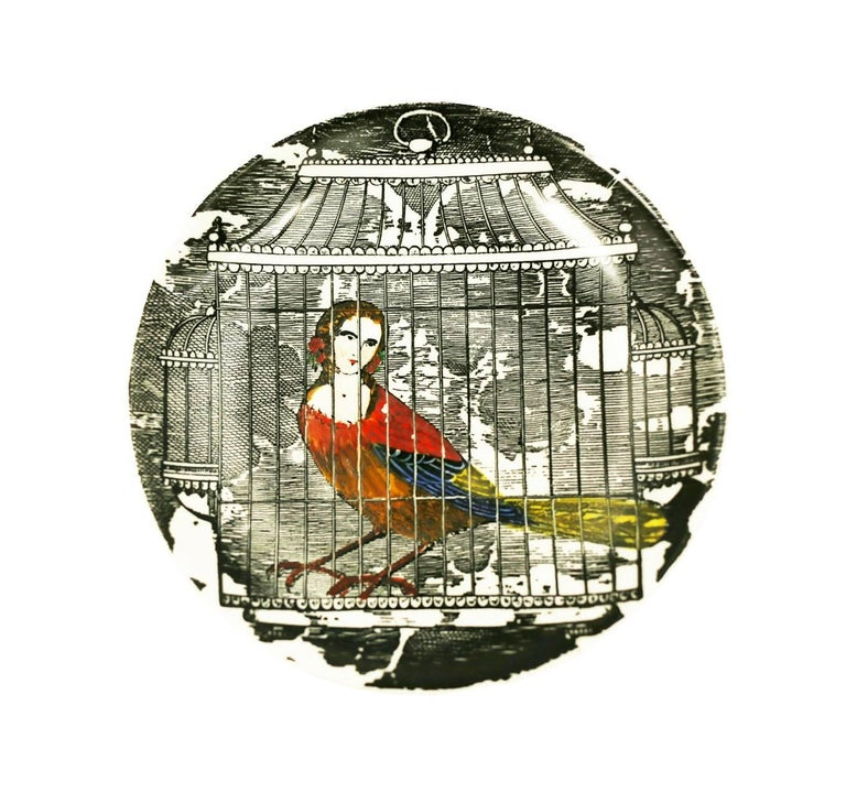 Mid-20th Century Piero Fornasetti Rare Multi Colored L'Arpie Gentili Coasters, Set of Five For Sale