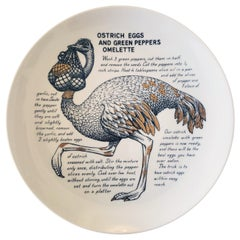 Piero Fornasetti Recipe Plate, Ostrich Eggs and Green Peppers Omelette