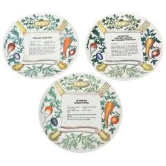 "Piero Fornasetti ""Recipe"" Porcelain Plates"