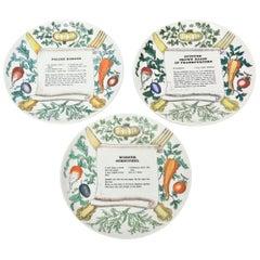 """Piero Fornasetti """"Recipe"""" Porcelain Plates Vintage"""