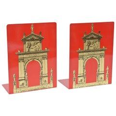 "Piero Fornasetti Roman Classical ""Porta"" Metal Bookends Vintage"