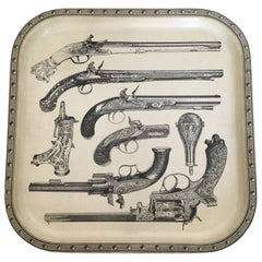 MAISON FORNASETTI PAIR Serving Trays, Pistol Motif, 'Pistole', Italy, circa 1960