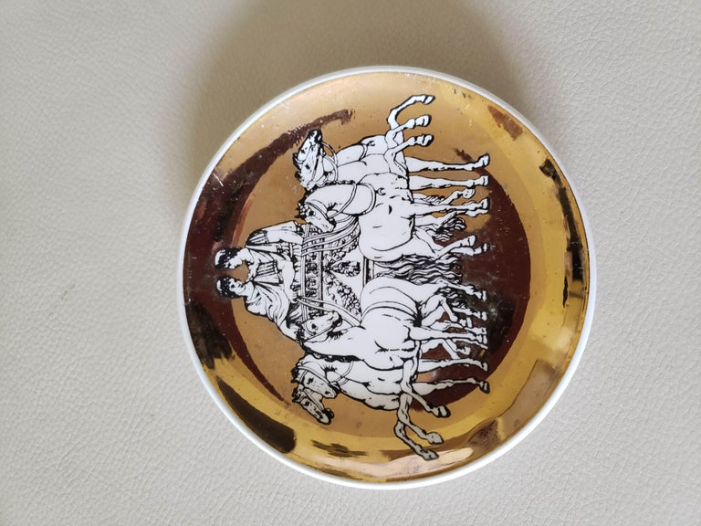 Mid-Century Modern Piero Fornasetti Set of Eight Coasters of Chariots on a Gold Ground, 1960s For Sale
