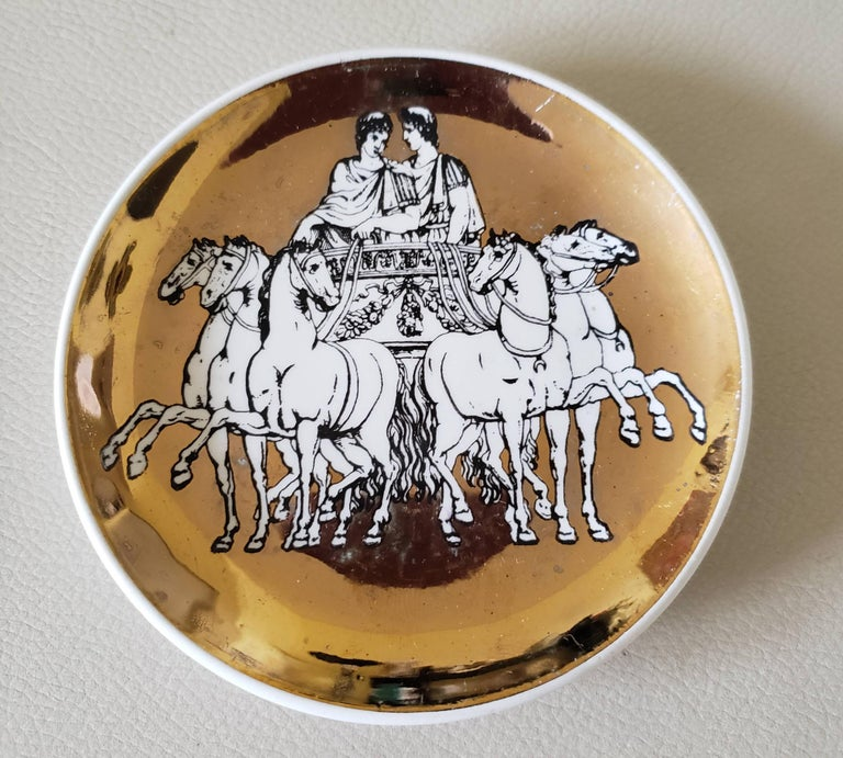 Italian Piero Fornasetti Set of Eight Coasters of Chariots on a Gold Ground, 1960s For Sale