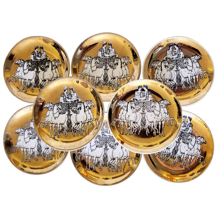 Piero Fornasetti Set of Eight Coasters of Chariots on a Gold Ground, 1960s For Sale