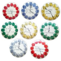 Piero Fornasetti Set of Eight Quand on Arrive Clock Coasters, When One Arrives